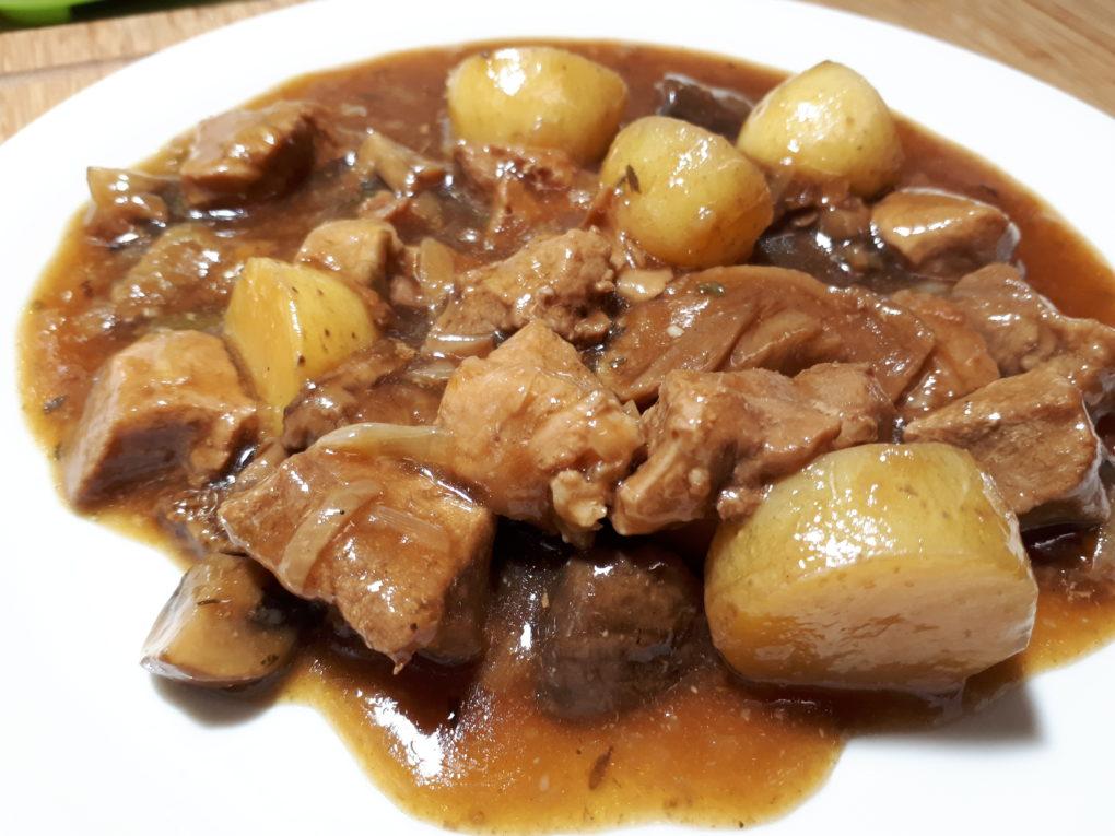 Schweins Stew mit Pilzen aus dem Instant Pot®