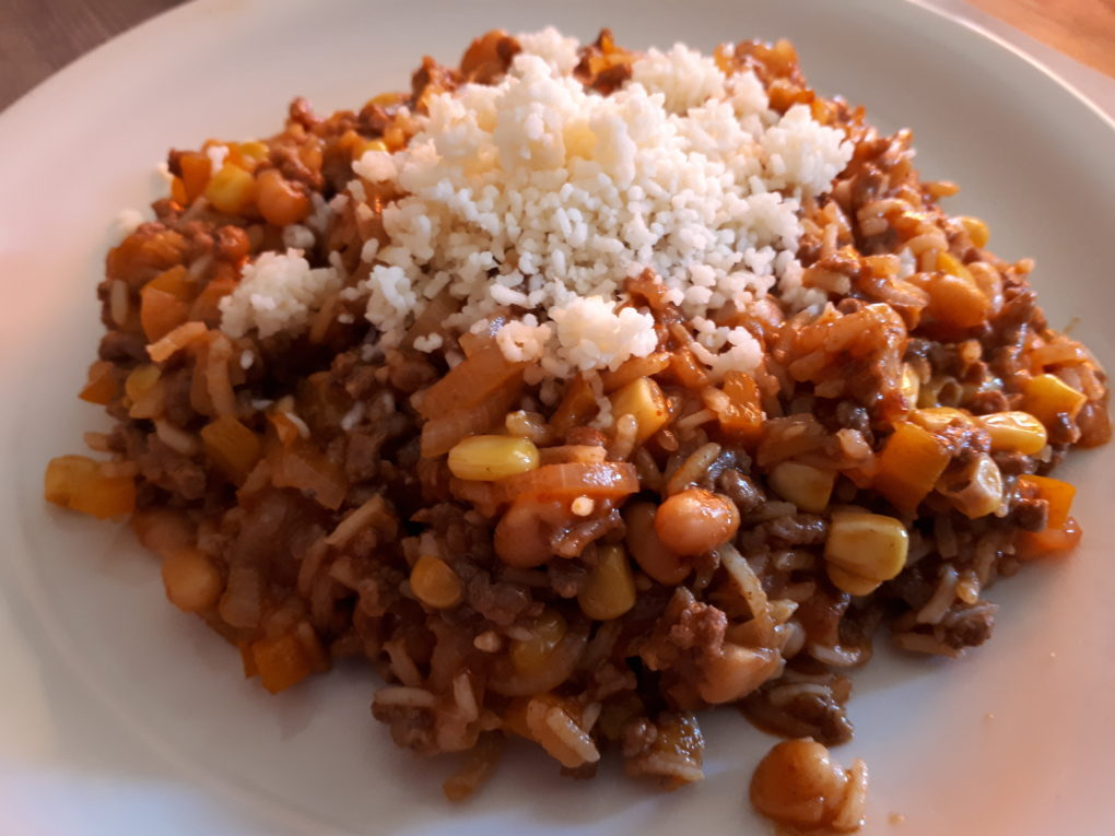 TexMex-Rindfleisch und Reis-Pfanne
