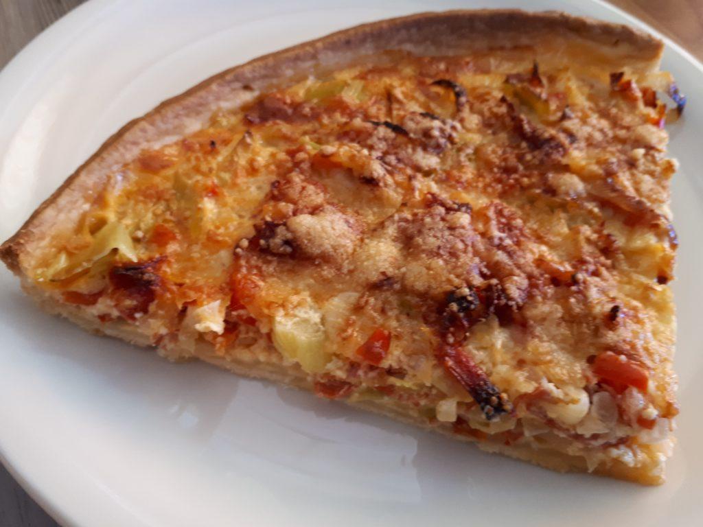 Vollkorn-Quiche mit Chorizo und Lauch
