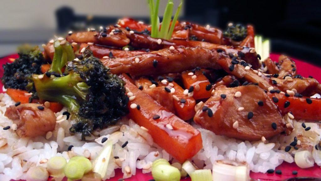 Honig Teriyaki Huhn mit gedämpftem Gemüse